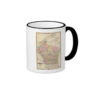 Mapa del estado de Wisconsin Tazas