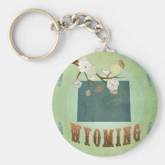 Mapa del estado de Wyoming - verde Llaveros Personalizados