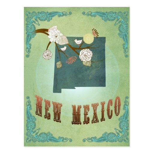 Mapa del estado del vintage de New México - verde Tarjetas Postales