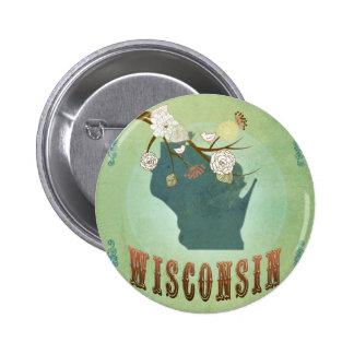 Mapa del estado del vintage de Wisconsin - verde Pin Redondo De 2 Pulgadas