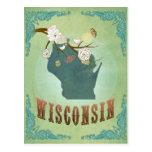 Mapa del estado del vintage de Wisconsin - verde Postal