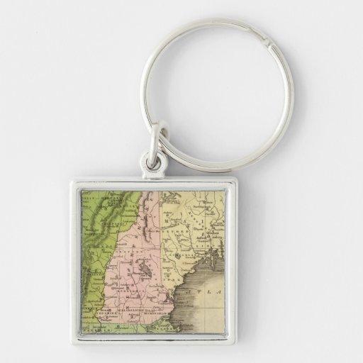 Mapa del este de Olney de los estados Llavero Cuadrado Plateado