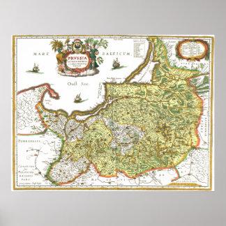Mapa del este de Prusia Poster