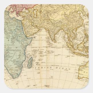 Mapa del este del hemisferio pegatina cuadrada
