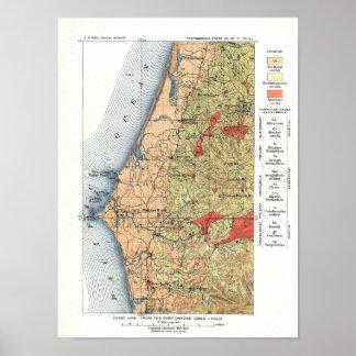 Mapa del estudio geológico de los E.E.U.U. Póster