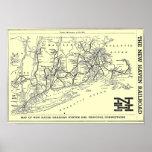 Mapa del ferrocarril 1956 de New Haven Póster