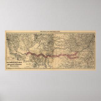 Mapa del ferrocarril atlántico y pacífico 1883 impresiones