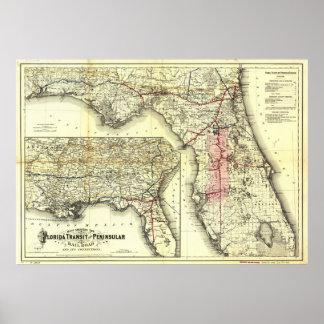 Mapa del ferrocarril de la Florida del vintage Póster