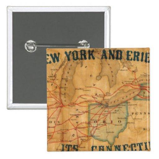 Mapa del ferrocarril de Nueva York y de Erie Pins