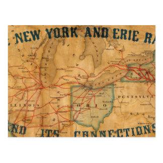 Mapa del ferrocarril de Nueva York y de Erie Tarjeta Postal