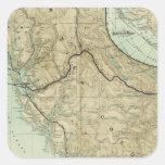 Mapa del ferrocarril magnífico del Pacífico del Calcomania Cuadrada Personalizada