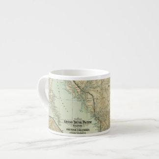 Mapa del ferrocarril magnífico del Pacífico del Taza Espresso
