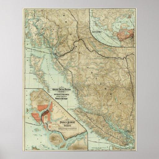 Mapa del ferrocarril magnífico del Pacífico del tr Impresiones
