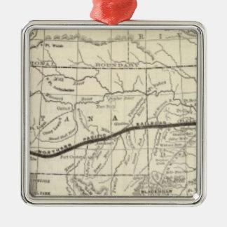 Mapa del ferrocarril pacífico septentrional adorno navideño cuadrado de metal