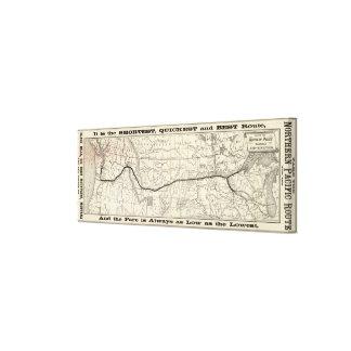 Mapa del ferrocarril pacífico septentrional lona envuelta para galerías
