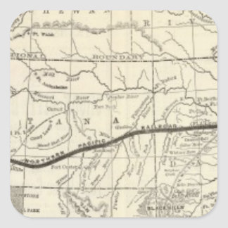 Mapa del ferrocarril pacífico septentrional pegatina cuadrada