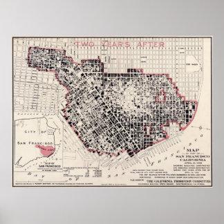 Mapa del fuego de San Francisco - 1908 (cestito Br Posters