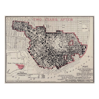 Mapa del fuego de San Francisco - 1908 (cestito Póster