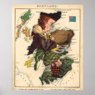 Mapa del gaitero de Escocia del vintage (1868) Póster