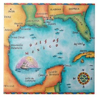 Mapa del Golfo de México Azulejo Cuadrado Grande