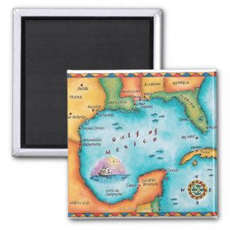 Mapa del Golfo de México Imán Cuadrado