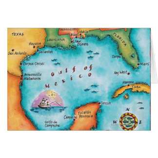 Mapa del Golfo de México Tarjeta De Felicitación