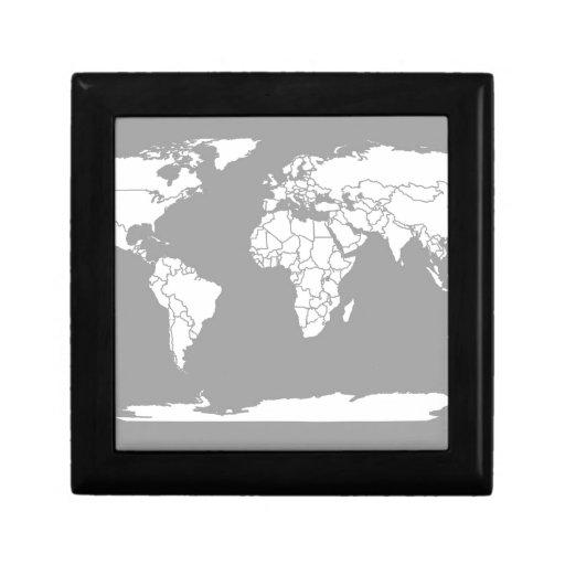 Mapa del gris y blanco del mundo caja de regalo