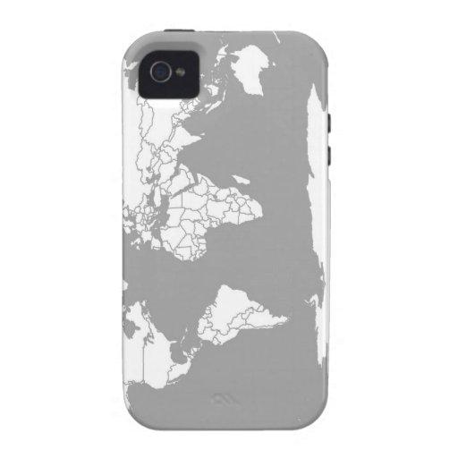 Mapa del gris y blanco del mundo Case-Mate iPhone 4 funda