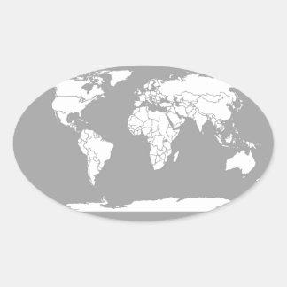 Mapa del gris y blanco del mundo pegatina ovalada