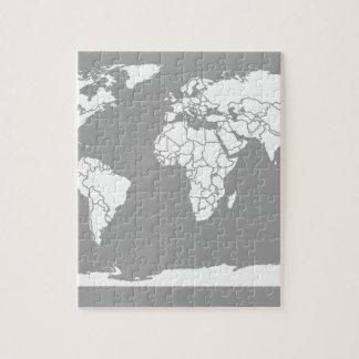 Mapa del gris y blanco del mundo rompecabeza