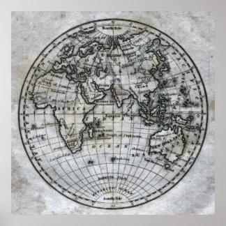 Mapa del hemisferio del este impresiones