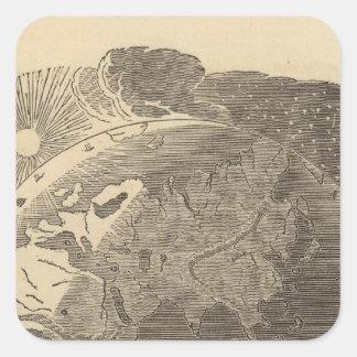 Mapa del hemisferio del este por Goodrich Pegatina Cuadrada