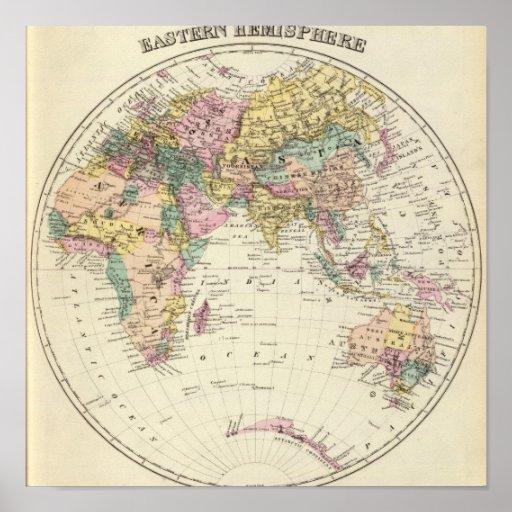 Mapa del hemisferio del este poster