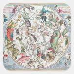 Mapa del hemisferio meridional 2 pegatinas cuadradases
