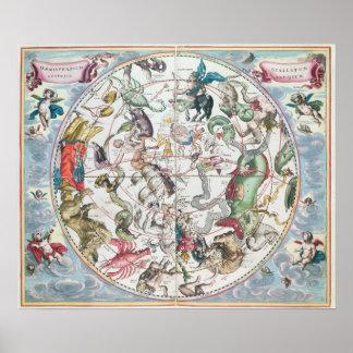 Mapa del hemisferio meridional póster