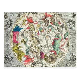 Mapa del hemisferio meridional tarjetas postales