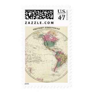 Mapa del hemisferio occidental timbres postales