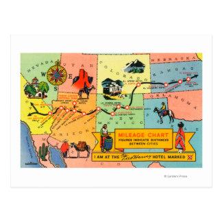 Mapa del hotel LocationsCA de Fred Harvey a KS Postal