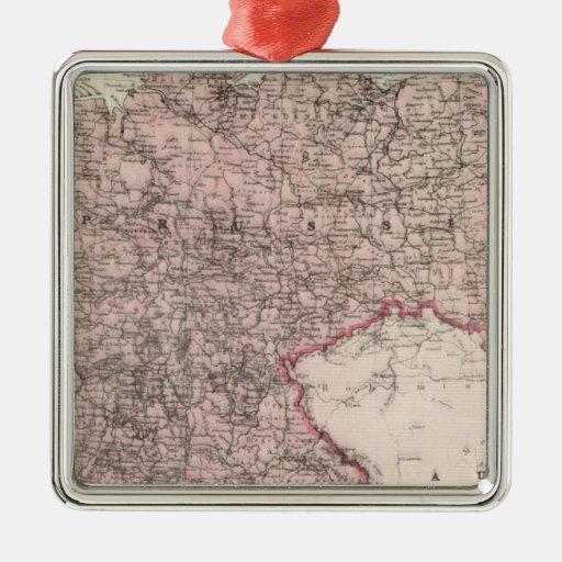 Mapa del imperio alemán adorno navideño cuadrado de metal