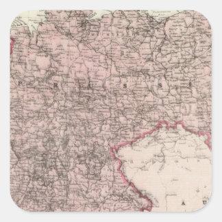 Mapa del imperio alemán calcomanía cuadradas personalizadas