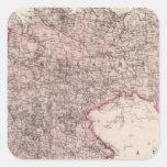 Mapa del imperio alemán pegatina cuadrada