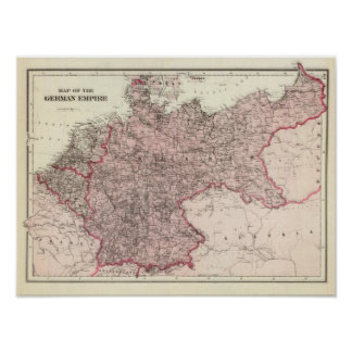 Mapa del imperio alemán póster