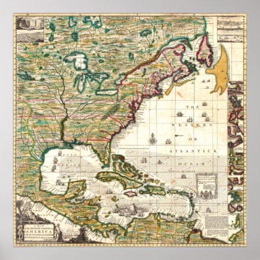 Mapa del Imperio británico en América 1773 Impresiones