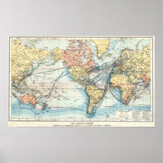 Mapa del Imperio británico Póster