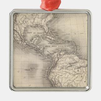 Mapa del imperio español en las Américas Adorno Cuadrado Plateado