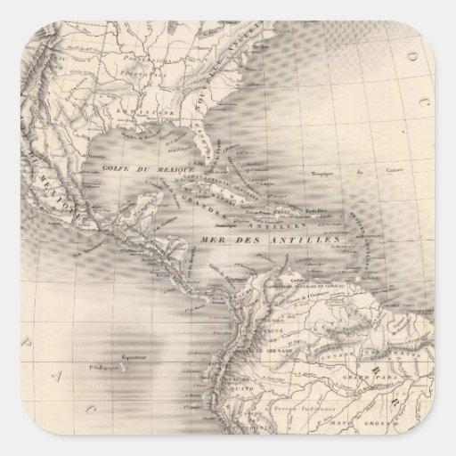Mapa del imperio español en las Américas Calcomanías Cuadradass
