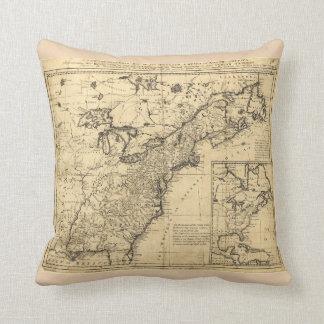 Mapa del imperio inglés en Norteamérica (1755) Cojín