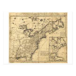 Mapa del imperio inglés en Norteamérica (1755) Tarjeta Postal