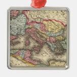 Mapa del imperio romano adorno navideño cuadrado de metal