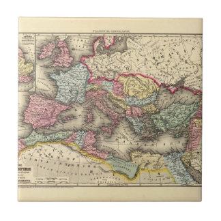 Mapa del imperio romano azulejo cuadrado pequeño